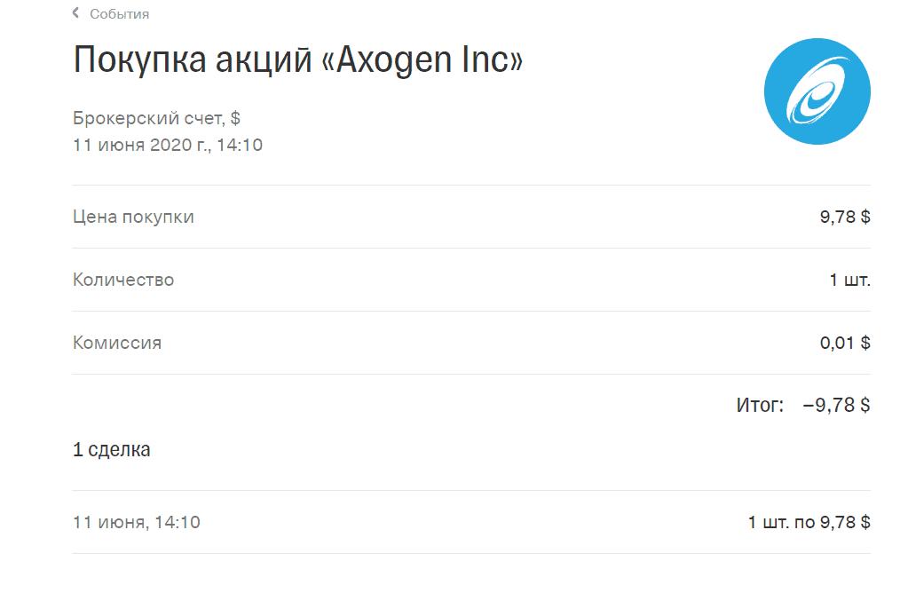 Покупка Axogen