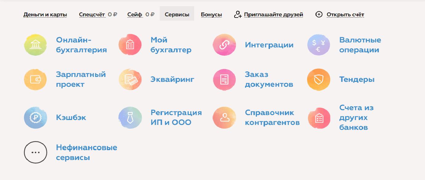 Сервисы банка Точка