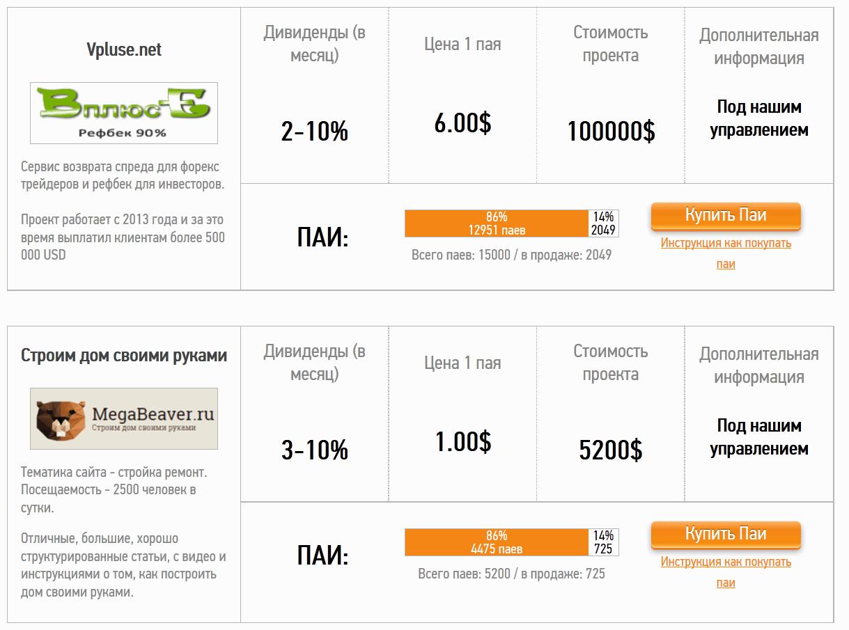 БайПай - инвестиции в сайты